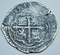 1500s Spanish Silver Shipwreck 1 Reales Piece of 8 Real Colonial Pirate Cob Coin