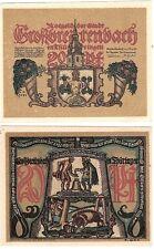 Germania 20 Pfennig 1921 grobbreitenbach NOTGELD UNC FIOR delle banconote