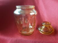 Yelow Glass Canister L. E. Smith Vintage 1960