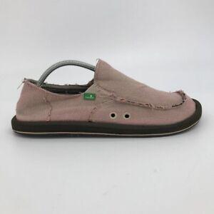 Sanuk Mens Vagabond Sidewalk Surfers Loafers Shoes Pink Beige Moc Toe Slip On 11