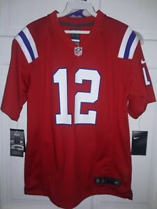 Tom Brady New England Patriots NFL football Jersey Nike shirt Red Kids Youth L