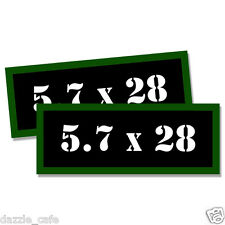 "5.7 X 28 Ammo Can 2x Labels Ammunition Case 3""x1.15"" stickers decals 2 pack"