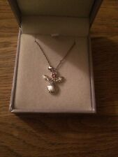 Equilibrium Silver Plated Angel With A Pink Stone Pendant Necklace 16 Inch Chain