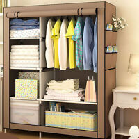 170*105*45cm Portable Closet Storage Canvas Wardrobe Clothes Rack With Shelves·