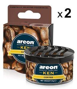 2 x Air Freshener Areon KEN Coffee Luxury Perfume Car Home Scent Fresheners