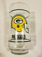 Vintage Mobil Green Bay Packers Spellout Helmet Drinking Glass Promo EUC NFL