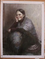 """Art sale oil painting on canvas portrait of Russian young girl-Tanya 30""""x40"""""""