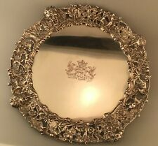 Antique Silverplate Tray Bacchus Grand Tour Bronze Hunting Boar Deer Dogs