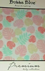 Bubba Blue Premium Collection COT FITTED SHEET- Island Baby-pink leaves tropical