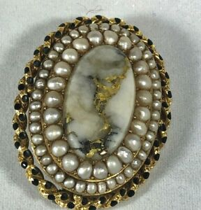 Vintage 14K Yellow Gold Pin Brooch Pearls Agate W Vein of Natural Gold  c 1930