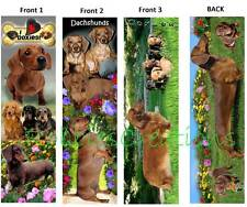 3 Lot-DACHSHUND BOOKMARK Doxie long haired puppy DOG ART Book Mark Card figurine