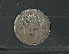 SWEDEN,  1918-W,  10 ORE,  SILVER,  KM#780,  EXTRA FINE
