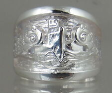 US Navy Licensed submarine dolphin regulation ring  .925 sterling size 15.5
