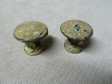 2 Vtg Antique Cast Iron Cabinet Door or Drawer Pulls w/ Crusty Old White Paint D