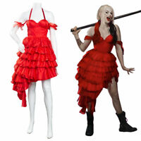 The Suicide Squad Harley Quinn Cosplay Costume Red Dress Outfits Party