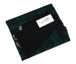 Glen Lossie Mens Black Gloves & Blue Green Tartan Lambswool Scarf Set One Size