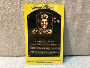 Johnny Bench Signed Autographed Gold Hall of Fame Plaque HOF Postcard Card JSA