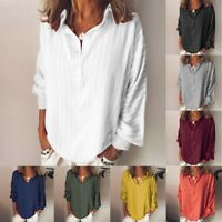 Fashion Women's Loose Casual Striped Button Lapel Long Sleeve Shirt Tops Blouse