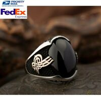 Turkish 925 Sterling Silver Heavy black onyx stone mens man ring ALL SİZE& 700