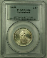 1946 B Switzerland Silver 2 Francs Coin PCGS MS-66