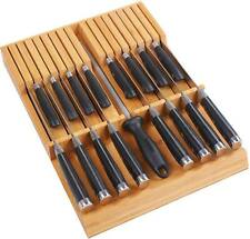 Utoplike In-Drawer Bamboo Knife Block Drawer Organizer and Holder 16 knife