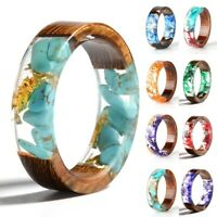 Transparent Epoxy Resin Wood Ring Fashion Handmade Dried Flower Wedding Jewelry
