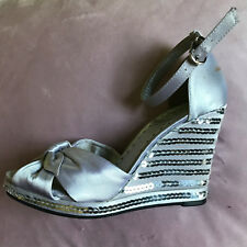 BCBG Silver Satin Leather Wedge Sandals Sz 37-6'5