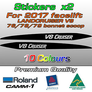 V8 CRUISER Sticker for 2017-on LandCruiser 76 70 78 79 series bonnet scoop bulge