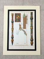 1857 Architectural Print Church Organ Pipes French Cathedral Gonesse France