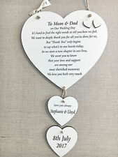Parents of the Bride Groom Thank you Plaque Personalised Wedding Hearts W181