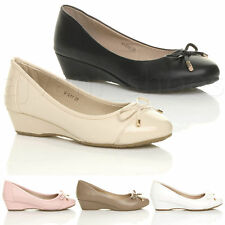 WOMENS LADIES LOW MID HEEL WEDGE BOW SMART WORK DOLLY BALLERINA COURT SHOES SIZE