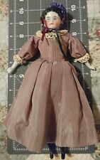 """9 3/4"""" Vintage CHINA HEAD DOLL 6 With Bonnet"""