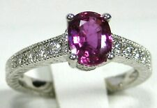 Pink Sapphire Ring Antique Style 18K white gold Tanzanian Natural Heirloom $4,23
