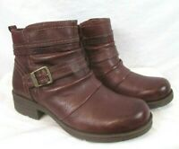 Earth Origins Randi Roland Ankle Boots Leather Merlot 8W Side Zip Women BR50