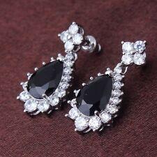 Black sapphire Vintage 18k white gold filled jewlery design dangle earring