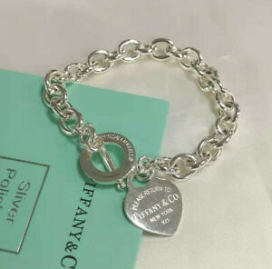 Tiffany & Co 925 silver heart-shaped pin buckle bracelet
