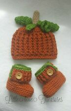 NEW Newborn Baby Pumpkin Hat and Booties Crochet infant Photo Prop Gift
