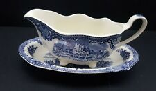 Johnson Brothers Old Britain Castles Blue Gravy Boat & Underplate