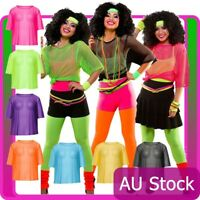 Ladies String Vest Mash Top 80s Costume Net Neon Punk Rocker Fishnet T Shirt