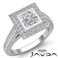 Halo Pave Set Princess Diamond Engagement Ring GIA F VS2 18k White Gold 2.75ct
