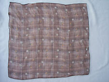 """Woman Semi Sheer 19"""" Square Scarf Brown Plaid Floral Yellow Flowers"""