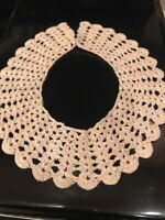 Vintage Collar Hand Crocheted Taupe Thread  Tiny Snap Closure. Awesome Condition