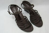 Franco Sarto Sandals Brown Wedge Heels Strappy Size 9.5 Women's Leather