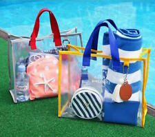Women Clear Transparent Shoulder Bag Jelly Candy Summer Beach Tote Handbag
