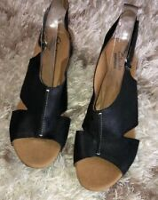 Clarks Artisan Wedge Black Nubuck Leather Slingback Sandals Size 10 Wide