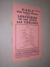 RIBBLE MOTOR SERVICES LTD. PRESTON. 1962 BUS TIME TABLE. LANCS & LAKE DISTRICT