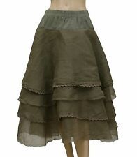 149495 NWD $335 Ewa I Walla Lagenlook Tiered Tine Layered Banded Skirt Medium M