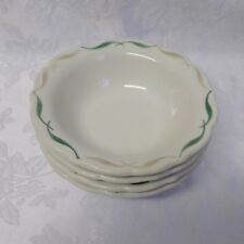 Syracuse Festival China Cereal Bowls 4 Winthrop Green Tan Strokes Scallop 1960's