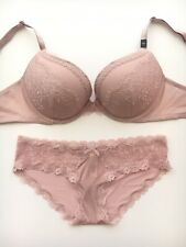 Victoria's Secret Push-up Bra 34D Hipkini Panty S Dusty Rose Pink