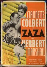 RARE ZAZA Claudette Colbert Dir. George Cukor Original Swedish Movie Poster 1939